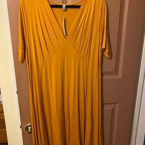 ASOS Curve fit and flare mustard gold dress
